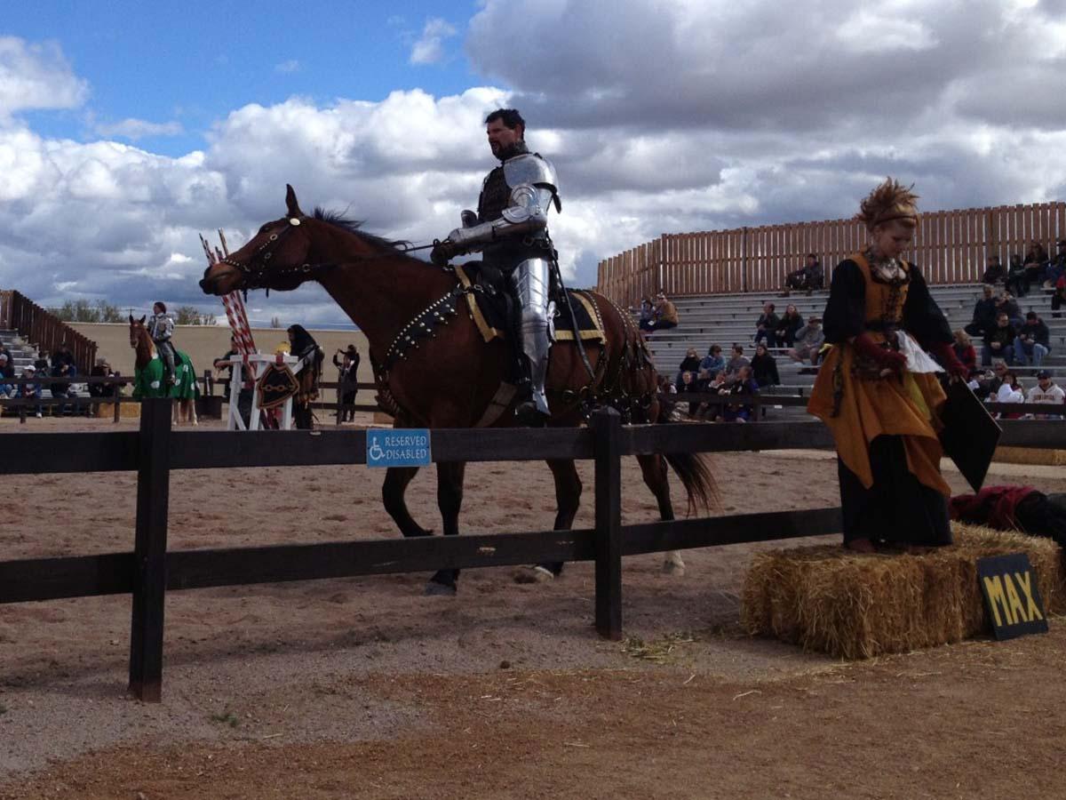 Renaissance Festival jousting knight on horseback