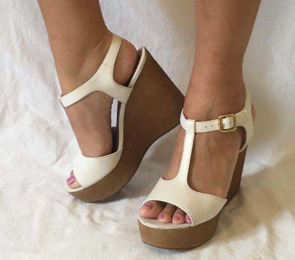 Bridal Shoes White Leather t strap wedge
