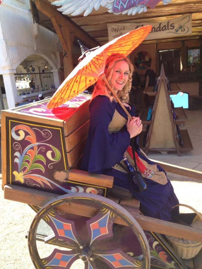 Ren Faire parasol on cab
