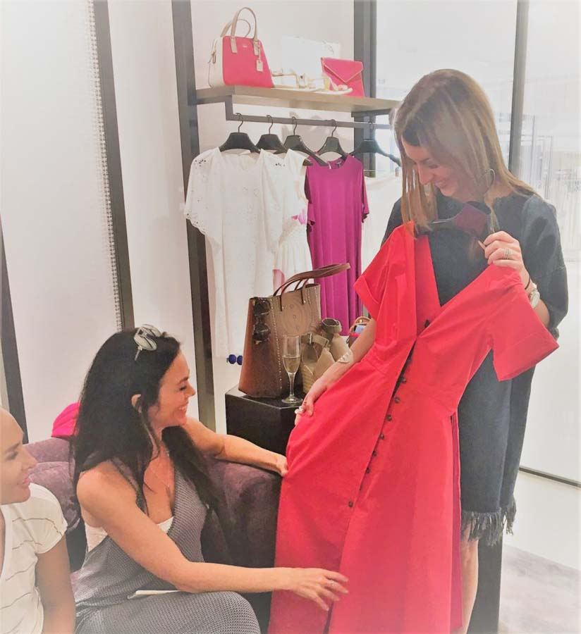 Lizzy VIP shopping red dress