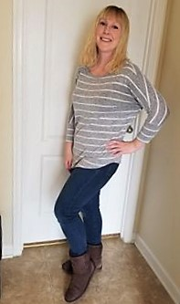 Theresa in her Stitch Fix Jeans and Shirt