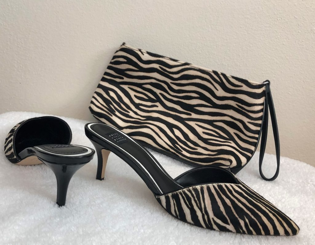 Zebra print shoes and matching bag